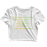 TV Series Breaking Bad the cooking METHod Custom Printed Graphic Design Crop Top T-Shirt for Women - Aaramkhor