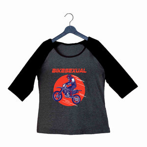 Biker Travel Wanderlust BikeSexual Custom Printed Graphic Design Raglan T-Shirt for Women - Aaramkhor
