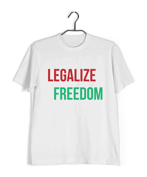 White  Politics Freedom legalize freedom Custom Printed Graphic Design T-Shirt for Men