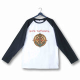 Travel Wanderlust LIVE TO TRAVEL, TRAVEL TO LIVE Custom Printed Graphic Design Raglan T-Shirt for Women - Aaramkhor