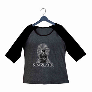 TV Series Games of Thrones (GOT) ARYA STARK KINGSLAYER Custom Printed Graphic Design Raglan T-Shirt for Women - Aaramkhor