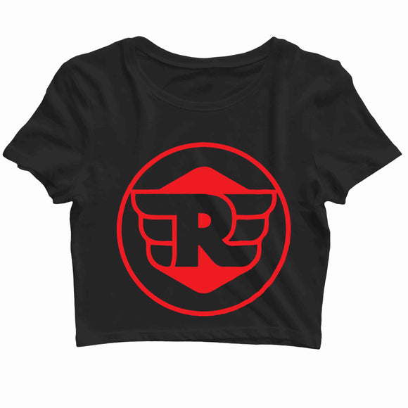 Biker Travel Wanderlust Royal Enfield Fans logo Custom Printed Graphic Design Crop Top T-Shirt for Women - Aaramkhor