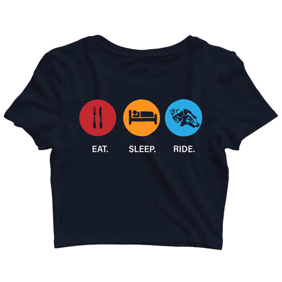 Biker Travel Wanderlust Eat Sleep Ride Custom Printed Graphic Design Crop Top T-Shirt for Women - Aaramkhor