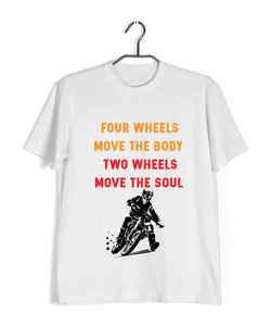 Biker Travel Wanderlust Two Wheels Move the Soul Custom Printed Graphic Design T-Shirt for Men - Aaramkhor