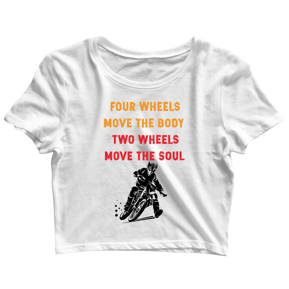 Biker Travel Wanderlust Two Wheels Move the Soul Custom Printed Graphic Design Crop Top T-Shirt for Women - Aaramkhor