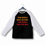 Biker Travel Wanderlust Two Wheels Move the Soul Custom Printed Graphic Design Raglan T-Shirt for Women - Aaramkhor