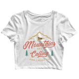 Travel Wanderlust The Mountains are Calling Custom Printed Graphic Design Crop Top T-Shirt for Women - Aaramkhor