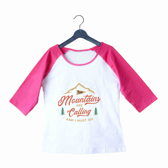 Travel Wanderlust The Mountains are Calling Custom Printed Graphic Design Raglan T-Shirt for Women - Aaramkhor