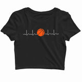 Sports Basketball  Minimal Tributes - BASKETBALL IS LIFE Custom Printed Graphic Design Crop Top T-Shirt for Women - Aaramkhor