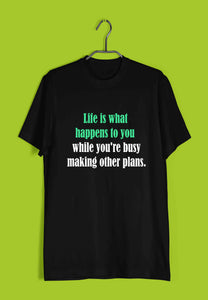 Music John Lennon - Life is what happens to you while you're busy making other plans Custom Printed Graphic Design T-Shirt for Women - Aaramkhor