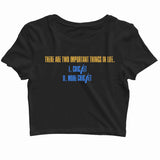 Team India Sports Cricket Two Important Things - Cricket Custom Printed Graphic Design Crop Top T-Shirt for Women - Aaramkhor