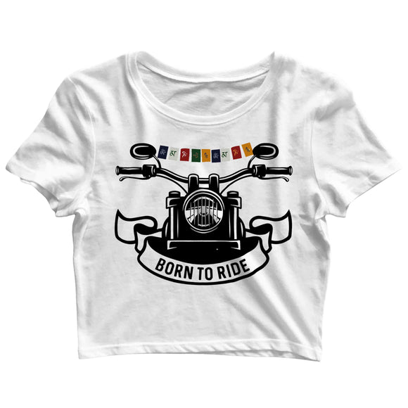 Biker Travel Wanderlust LADAKH FLAG ON BIKE Custom Printed Graphic Design Crop Top T-Shirt for Women - Aaramkhor