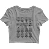 Music Classical Guitar Chord Chart Cheat Sheet  Custom Printed Graphic Design Crop Top T-Shirt for Women - Aaramkhor