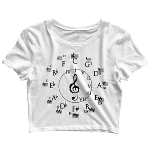 Music Classical Circle of Fifths Classical Music Theory Custom Printed Graphic Design Crop Top T-Shirt for Women - Aaramkhor