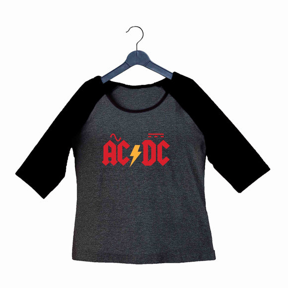 AC DC Music Rock Bands AC DC Custom Printed Graphic Design Raglan T-Shirt for Women - Aaramkhor