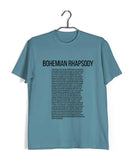 Music Rock Bands Queen Bohemian Rhapsody Lyrics Custom Printed Graphic Design T-Shirt for Men - Aaramkhor