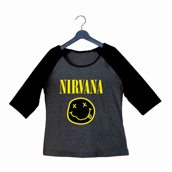 Nirvana Music Rock Bands Nirvana Custom Printed Graphic Design Raglan T-Shirt for Women - Aaramkhor