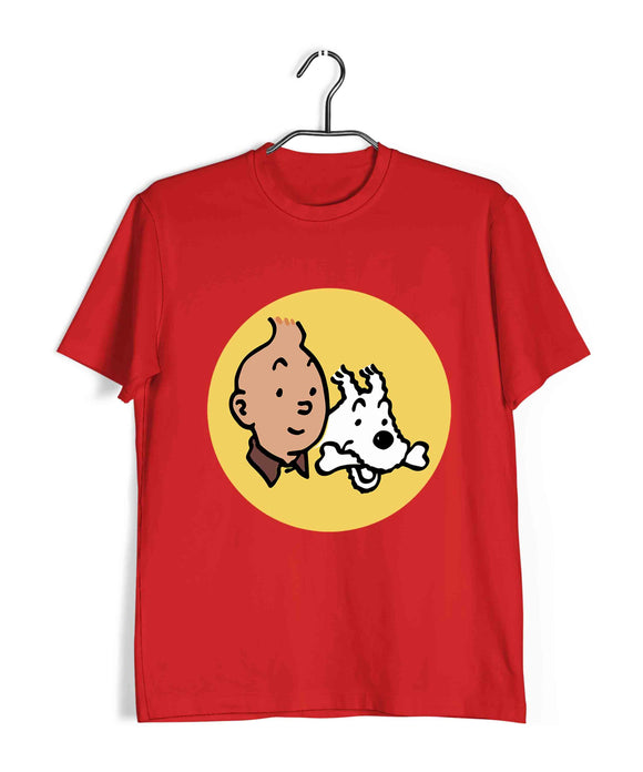 Comics Tintin CLASSIC Custom Printed Graphic Design T-Shirt for Men - Aaramkhor