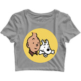 Comics Tintin CLASSIC Custom Printed Graphic Design Crop Top T-Shirt for Women - Aaramkhor