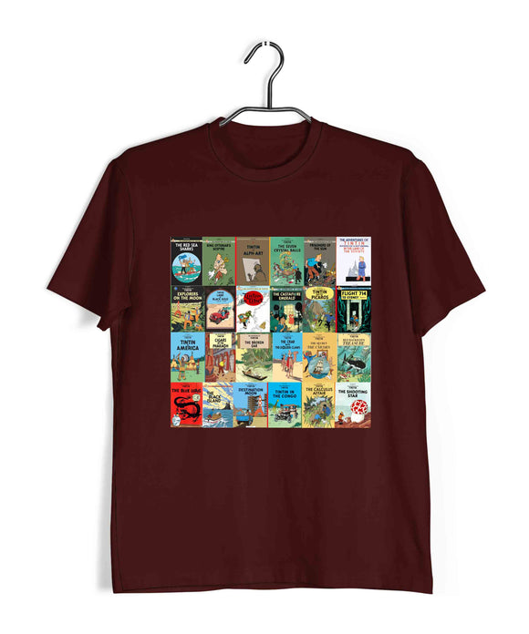 Comics Tintin ALL BOOKS Custom Printed Graphic Design T-Shirt for Women - Aaramkhor