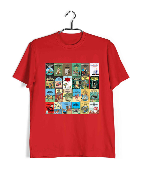 Comics Tintin ALL BOOKS Custom Printed Graphic Design T-Shirt for Men - Aaramkhor