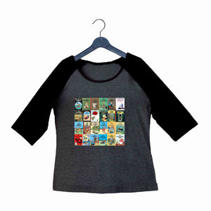 Comics Tintin ALL BOOKS Custom Printed Graphic Design Raglan T-Shirt for Women - Aaramkhor
