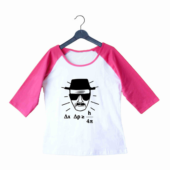 TV Series Breaking Bad Heisenberg Uncertainty Principle Custom Printed Graphic Design Raglan T-Shirt for Women - Aaramkhor