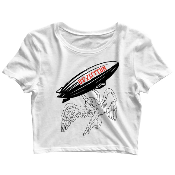 Music Rock Bands Led Zeppelin Icarus Mothership Custom Printed Graphic Design Crop Top T-Shirt for Women - Aaramkhor