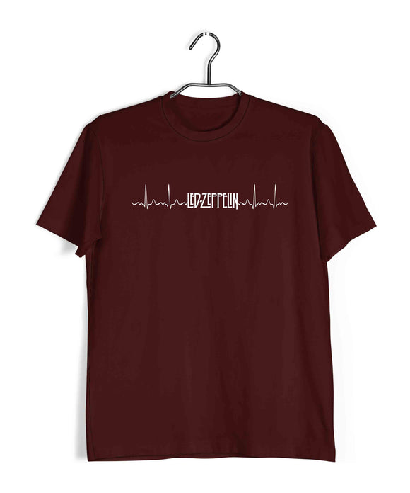 Music Rock Bands Led Zeppelin is in my heartbeat Minimal Design Custom Printed Graphic Design T-Shirt for Men - Aaramkhor