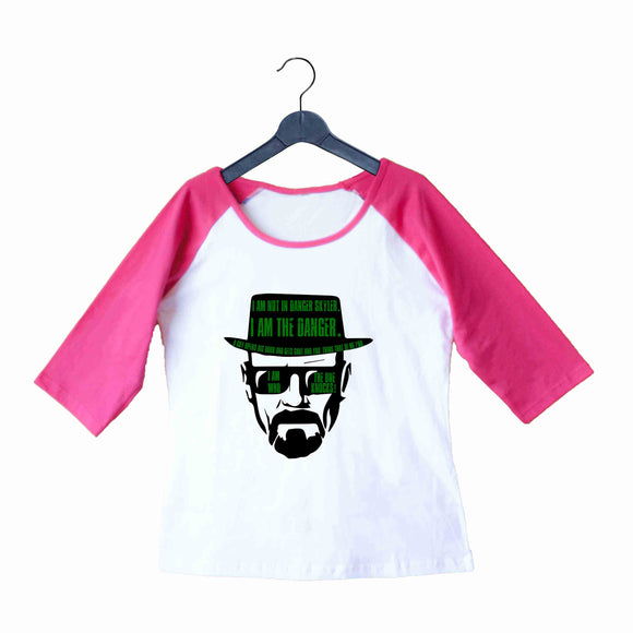 TV Series Breaking Bad Heisenberg I am the Danger Custom Printed Graphic Design Raglan T-Shirt for Women - Aaramkhor