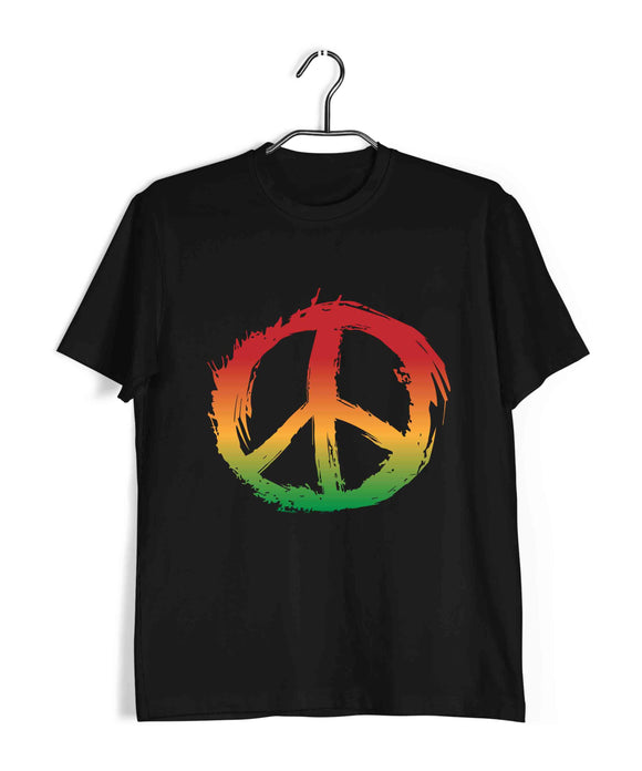 Music Artists REGGAE BOB MARLEY PEACE LOGO Custom Printed Graphic Design T-Shirt for Men - Aaramkhor