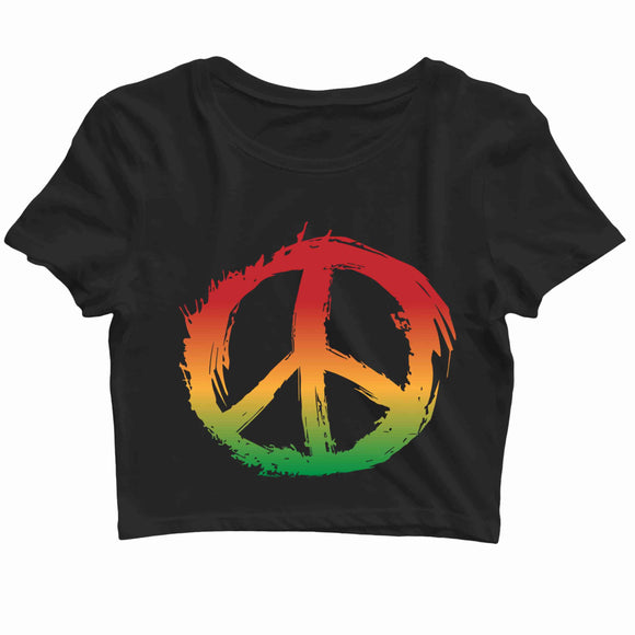 Music Artists REGGAE BOB MARLEY PEACE LOGO Custom Printed Graphic Design Crop Top T-Shirt for Women - Aaramkhor