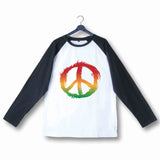 Music Artists REGGAE BOB MARLEY PEACE LOGO Custom Printed Graphic Design Raglan T-Shirt for Women - Aaramkhor