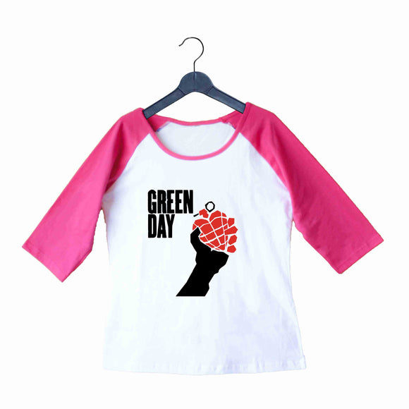 Music Rock Bands Green Day Logo Custom Printed Graphic Design Raglan T-Shirt for Women - Aaramkhor