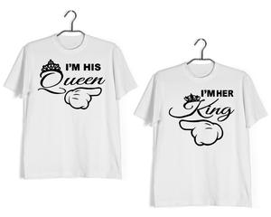 KING-QUEEN Anniversary Gifts Relationships Matching Couples KING QUEEN T-Shirts for Boyfriend Girlfriend Fiance Husband Wife Mother Father Family - Aaramkhor