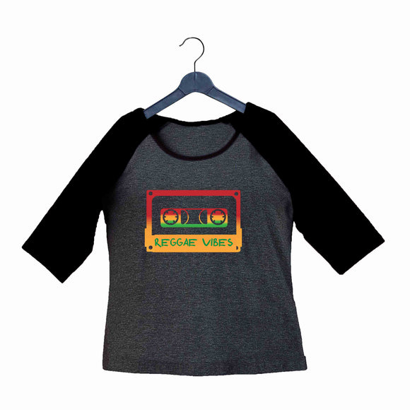 Music Artists REGGAE VIBES Custom Printed Graphic Design Raglan T-Shirt for Women - Aaramkhor