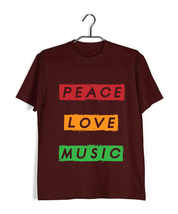 Music Artists PEACE LOVE MUSIC Custom Printed Graphic Design T-Shirt for Women - Aaramkhor