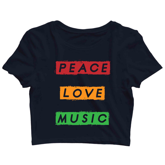 Music Artists PEACE LOVE MUSIC Custom Printed Graphic Design Crop Top T-Shirt for Women - Aaramkhor