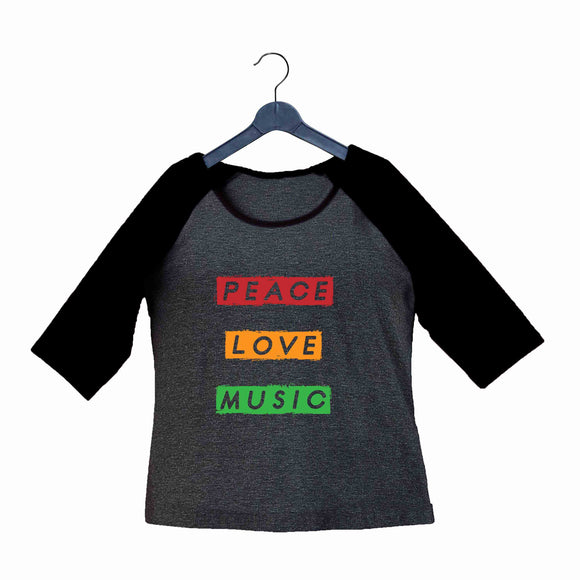 Music Artists PEACE LOVE MUSIC Custom Printed Graphic Design Raglan T-Shirt for Women - Aaramkhor