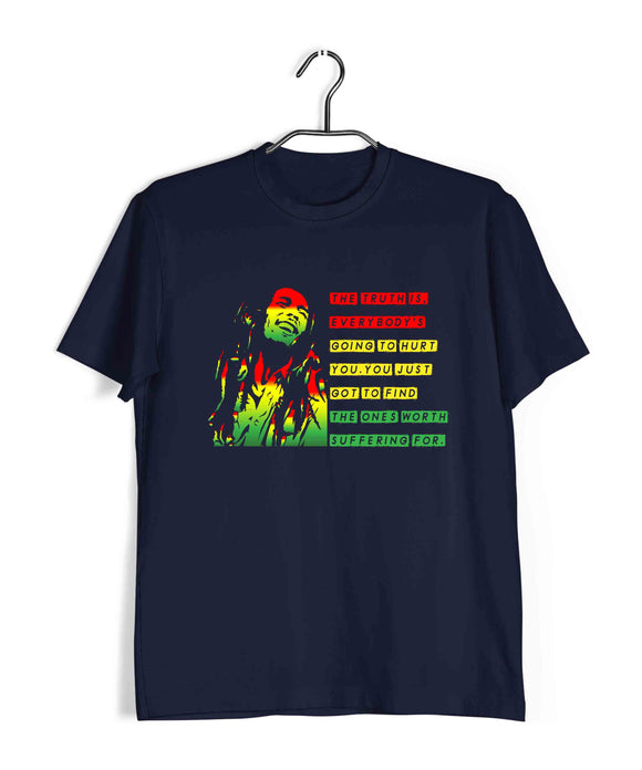 Music Artists BOB MARLEY CLASSIC QUOTE Custom Printed Graphic Design T-Shirt for Men - Aaramkhor