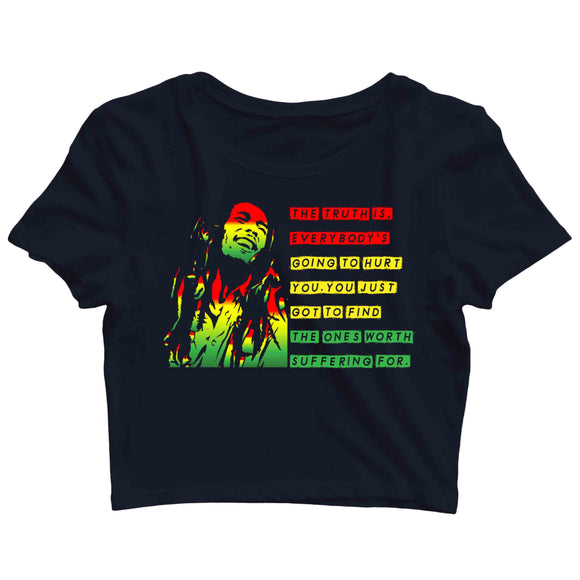 Music Artists BOB MARLEY CLASSIC QUOTE Custom Printed Graphic Design Crop Top T-Shirt for Women - Aaramkhor