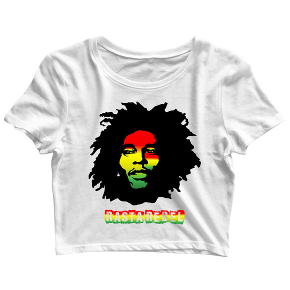 Music Artists BOB MARLEY RASTA REBEL Custom Printed Graphic Design Crop Top T-Shirt for Women - Aaramkhor