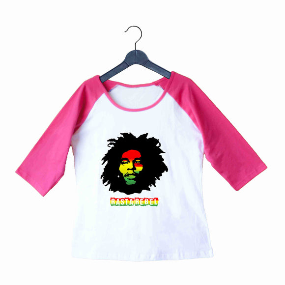 Music Artists BOB MARLEY RASTA REBEL Custom Printed Graphic Design Raglan T-Shirt for Women - Aaramkhor