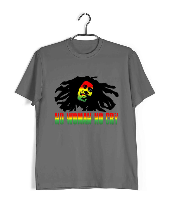 Music Artists BOB MARLEY NO WOMAN NO CRY Custom Printed Graphic Design T-Shirt for Women - Aaramkhor