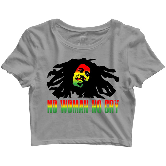 Music Artists BOB MARLEY NO WOMAN NO CRY Custom Printed Graphic Design Crop Top T-Shirt for Women - Aaramkhor