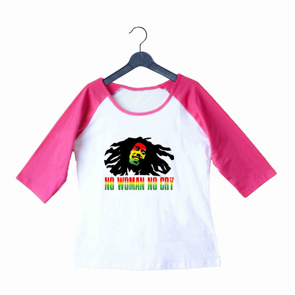 Music Artists BOB MARLEY NO WOMAN NO CRY Custom Printed Graphic Design Raglan T-Shirt for Women - Aaramkhor