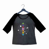 Yoga Fitness Yoga SEVEN CHAKRAS OF KUNDALINI YOGA Custom Printed Graphic Design Raglan T-Shirt for Women - Aaramkhor