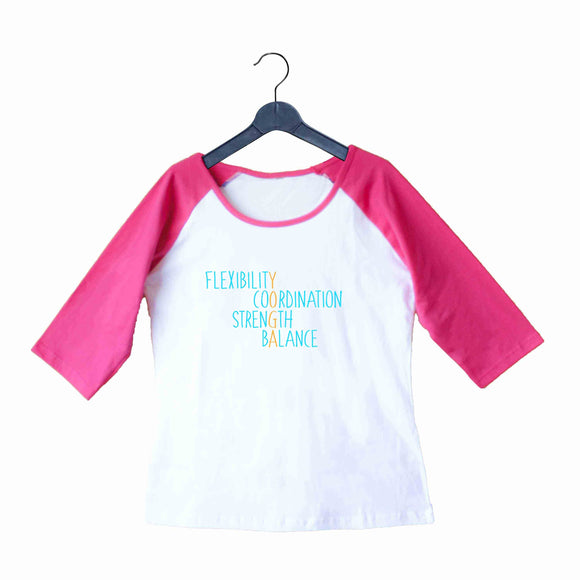 Yoga Fitness Yoga BENEFITS OF YOGA Custom Printed Graphic Design Raglan T-Shirt for Women - Aaramkhor