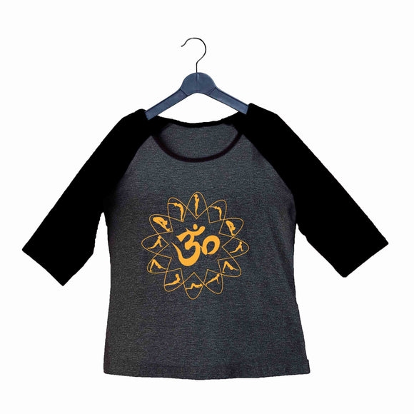 Yoga Fitness Yoga OM SURYANAMASKAR YOGA Custom Printed Graphic Design Raglan T-Shirt for Women - Aaramkhor