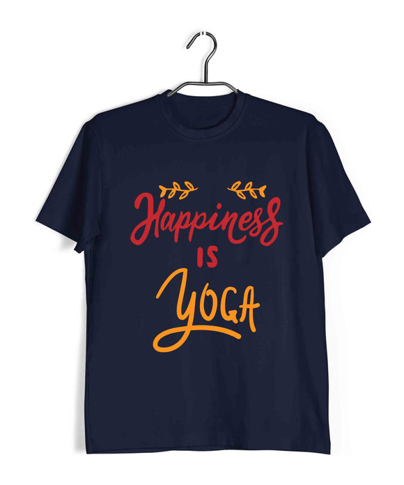 Yoga Fitness Yoga HAPPINESS IS YOGA Custom Printed Graphic Design T-Shirt for Men - Aaramkhor